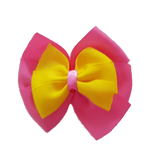 School uniform hair accessories Double Bella Hair Bow 10cm - Shocking Pink Base & Centre Ribbon Daffodil Yellow - Pinkberry Kisses
