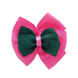 School uniform hair accessories Double Bella Hair Bow 10cm - Shocking Pink Base & Centre Ribbon Dark Green - Pinkberry Kisses
