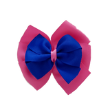 School uniform hair accessories Double Bella Hair Bow 10cm - Shocking Pink Base & Centre Ribbon Electric Blue - Pinkberry Kisses