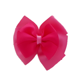 School uniform hair accessories Double Bella Hair Bow 10cm - Shocking Pink Base & Centre Ribbon Hot Pink - Pinkberry Kisses