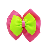 School uniform hair accessories Double Bella Hair Bow 10cm - Shocking Pink Base & Centre Ribbon Key Lime - Pinkberry Kisses