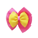 School uniform hair accessories Double Bella Hair Bow 10cm - Shocking Pink Base & Centre Ribbon Lemon - Pinkberry Kisses