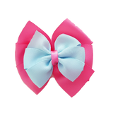 School uniform hair accessories Double Bella Hair Bow 10cm - Shocking Pink Base & Centre Ribbon Light Blue - Pinkberry Kisses