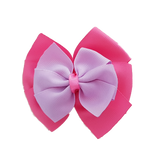 School uniform hair accessories Double Bella Hair Bow 10cm - Shocking Pink Base & Centre Ribbon Light Purple - Pinkberry Kisses