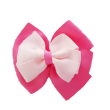 School uniform hair accessories Double Bella Hair Bow 10cm - Shocking Pink Base & Centre Ribbon Light Pink - Pinkberry Kisses