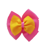 School uniform hair accessories Double Bella Hair Bow 10cm - Shocking Pink Base & Centre Ribbon Maize - Pinkberry Kisses