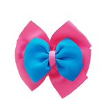 School uniform hair accessories Double Bella Hair Bow 10cm - Shocking Pink Base & Centre Ribbon Methyl Blue - Pinkberry Kisses