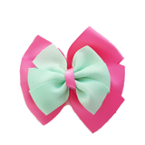 School uniform hair accessories Double Bella Hair Bow 10cm - Shocking Pink Base & Centre Ribbon Mint Green - Pinkberry Kisses