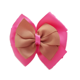School uniform hair accessories Double Bella Hair Bow 10cm - Shocking Pink Base & Centre Ribbon Natural - Pinkberry Kisses