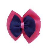 School uniform hair accessories Double Bella Hair Bow 10cm - Shocking Pink Base & Centre Ribbon Navy Blue - Pinkberry Kisses
