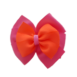 School uniform hair accessories Double Bella Hair Bow 10cm - Shocking Pink Base & Centre Ribbon Neon Orange - Pinkberry Kisses