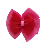 School uniform hair accessories Double Bella Hair Bow 10cm - Shocking Pink Base & Centre Ribbon Red - Pinkberry Kisses