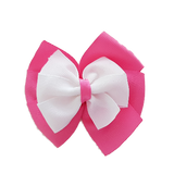 School uniform hair accessories Double Bella Hair Bow 10cm - Shocking Pink Base & Centre Ribbon White - Pinkberry Kisses