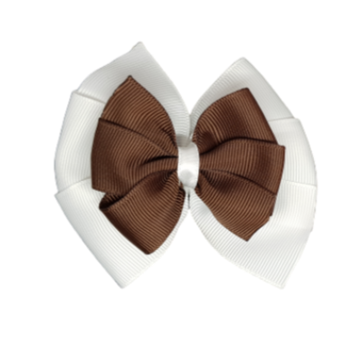 School uniform hair accessories Double Bella Hair Bow 10cm - White Base & Centre Ribbon Brown - Pinkberry Kisses