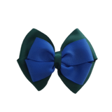 School uniform hair accessories Double Cherish Bow - Hunter Green Forest Green Base & Centre Ribbon Electric Blue - Pinkberry Kisses
