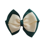 School uniform hair accessories Double Cherish Bow - Hunter Green Forest Green Base & Centre Ribbon Ivory - Pinkberry Kisses