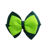 School uniform hair accessories Double Cherish Bow - Hunter Green Forest Green Base & Centre Ribbon Key Lime - Pinkberry Kisses