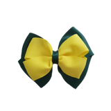 School uniform hair accessories Double Cherish Bow - Hunter Green Forest Green Base & Centre Ribbon Lemon Yellow - Pinkberry Kisses