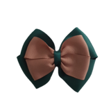 School uniform hair accessories Double Cherish Bow - Hunter Green Forest Green Base & Centre Ribbon Natural - Pinkberry Kisses