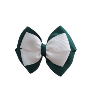 School uniform hair accessories Double Cherish Bow - Hunter Green Forest Green Base & Centre Ribbon Black - Pinkberry Kisses