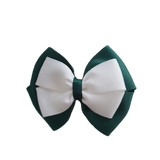 School uniform hair accessories Double Cherish Bow - Hunter Green Forest Green Base & Centre Ribbon White - Pinkberry Kisses