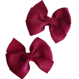 Bella Plain Colour School Uniform Hair Bow 6cm Non Slip Hair Bow Pinkberry Kisses Burgundy