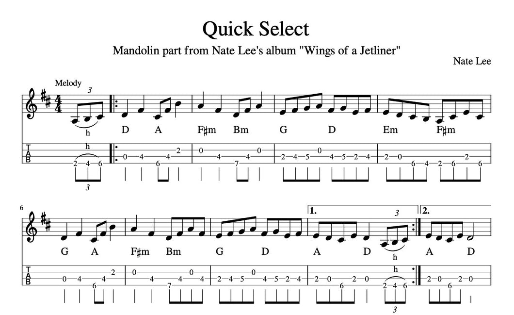 Quick Select - Transcription (Notation & TAB)