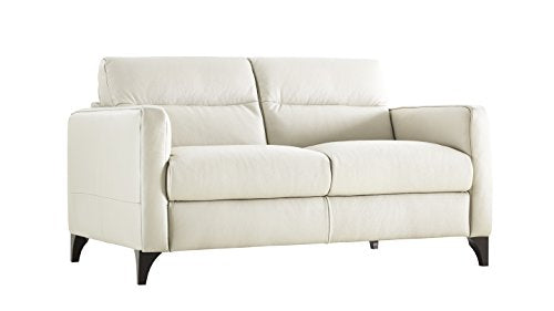 Natuzzi Editions Isacco Cream Leather Stationary Loveseat