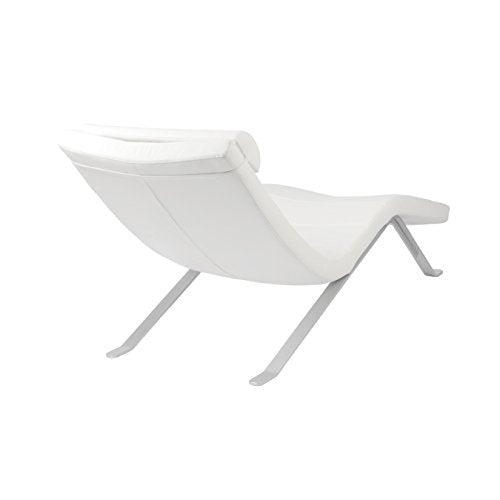 Eurø Style Gilda Leatherette Chaise Lounge Chair with Shiny Base, White