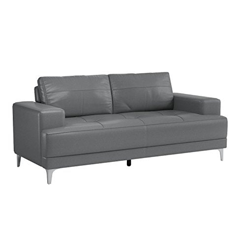 Monarch Bonded Leather Match Sofa, Charcoal Grey