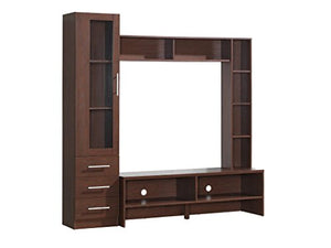 "Entertainment Center Made of Manufactured Wood in Hickory Color With 1 Cabinet With 3 Interior Shelves Inside & 3 Drawers & 5 Additional Open Shelves Holds Up to 50"" TV in Brown Color"