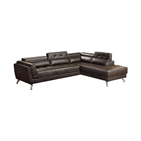Benzara BM166743 Bonded Leather 2 Piece Sectional in Espresso Brown