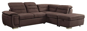 "Homelegance Platina 103"" Sectional Sofa with Pull Out Bed and Ottoman, Chocolate Fabric"