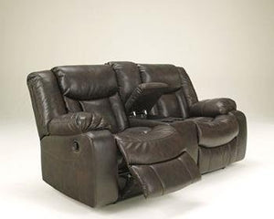 Signature Design by Ashley Carnell Brown Reclining Power Loveseat with Console