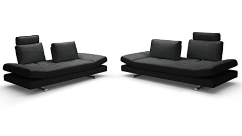 Zuri Furniture Bentley Black Top Grain Leather Modern Sofa Set with Loveseat