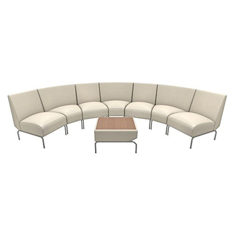 "Triumph Curved Lounge Chairs in Faux Leather Cream Polyurethane/Bronze Table Top/Chrome Feet Dimensions: 144""W x 70""D x 32.25""H Weight: 303 lbs"