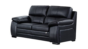 American Eagle Furniture Elmore Collection Contemporary Italian Leather Living Room Loveseat With Pillow Top Armrests, Black