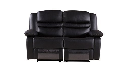 American Eagle Furniture 3 Piece Bayfront Collection Complete Faux Leather Reclining Living Room Sofa Set, Black