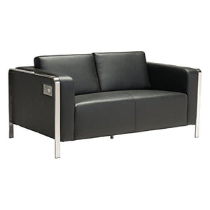 Brika Home Faux Leather Loveseat in Black