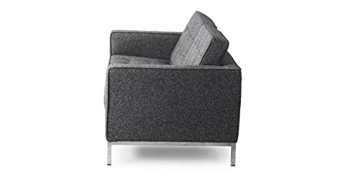 Kardiel Florence Knoll Style Loveseat, Carbonite Houndstooth Twill