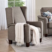 Wingback Pushback Recliner, Durable Gray Linen-Look Fabric