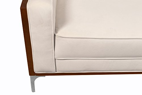 Chic Home Clark Club Sofa Button Tufted Velvet Wood Frame with Polished Metal Legs Couch, Modern Contemporary, Cream