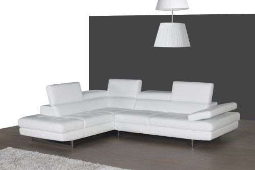 J&M Furniture 178551-LHFC A761 Italian Leather Sectional White In Left hand Facing