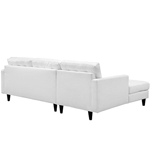 Modway Empress Left-Facing Leather Sectional Sofa in White