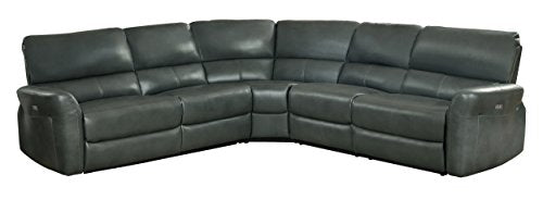 Homelegance Powered Motion Recliner 3 Piece Sectional Sofa AireHyde Breathable Faux Leather, Grey