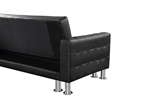 Velago Attalens Sectional Sleeper Sofa, Black