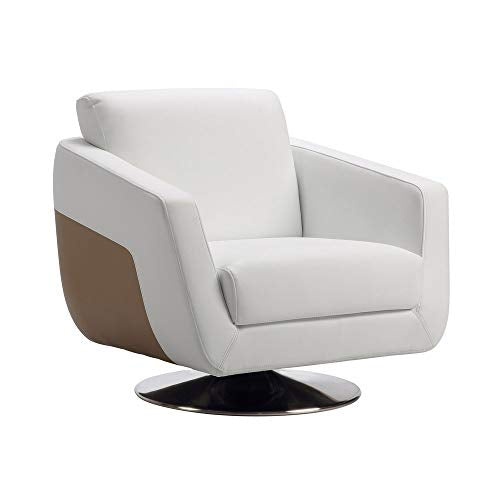 Zuri Furniture Modern Armondo Swivel Armchair in Two Tone White Microfiber Leather and Camel Accent