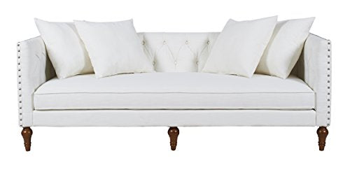 Jennifer Taylor Home Stanbury Collection Contemporary Hand Tufted with Nailhead Trim Upholstered Tuxedo 3 Seat Sofa, Star White