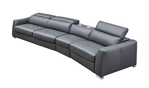 312 Leather Right Hand Facing Sectional Sofa in Dark Grey
