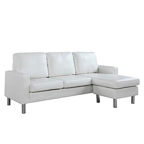 Reversible Sectional Sofa, Convertible L-Shape Couch in Bonded Leather Upholstery for Small Space (White)